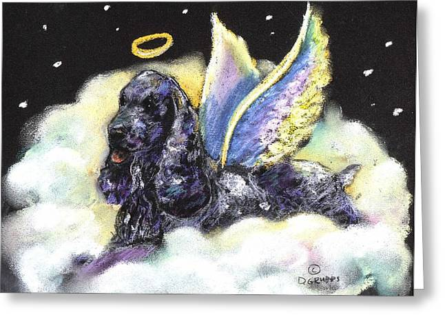 Spaniel Pastels Greeting Cards - English Cocker Spaniel Angel Greeting Card by Darlene Grubbs