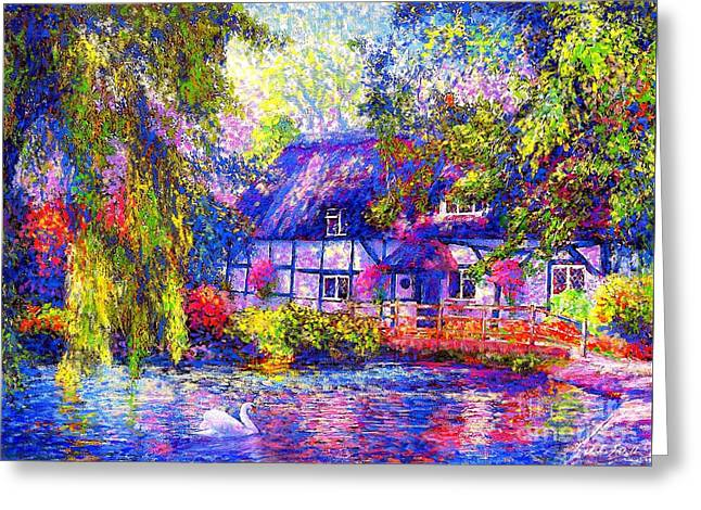 Duck Pond Greeting Cards - English Cottage Greeting Card by Jane Small