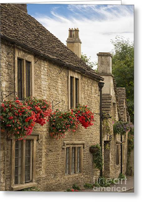 Stone Chimney Greeting Cards - English Cottage Greeting Card by Margie Hurwich