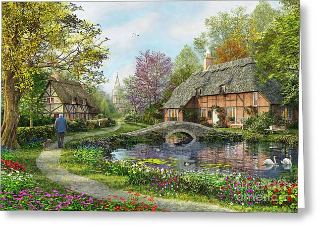 Countryside Digital Greeting Cards - English Cottage Greeting Card by MGL Meiklejohn Graphics Licensing