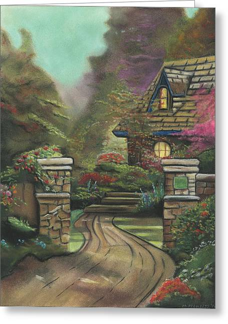 Country Cottage Drawings Greeting Cards - English Cottage Greeting Card by Michael Prentiss