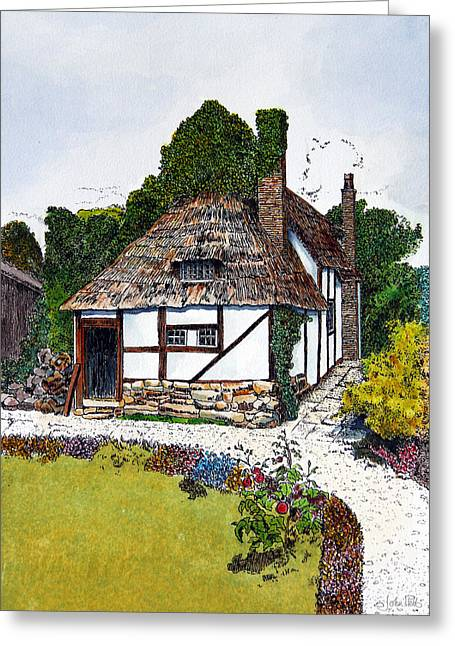 Country Cottage Drawings Greeting Cards - English Country Cottage 3 Greeting Card by John Hebb