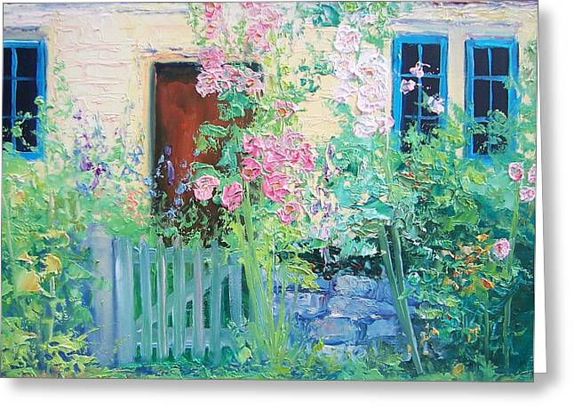Lounge Paintings Greeting Cards - English country cottage Greeting Card by Jan Matson