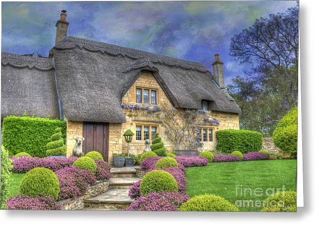 Thatched Roof Greeting Cards - English Country Cottage Greeting Card by Juli Scalzi