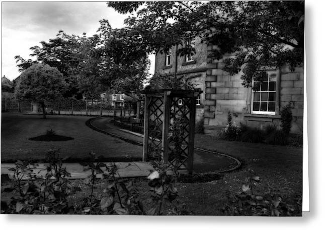 Garden Scene Mixed Media Greeting Cards - English Country Garden And Mansion - Series II Greeting Card by Michael Braham