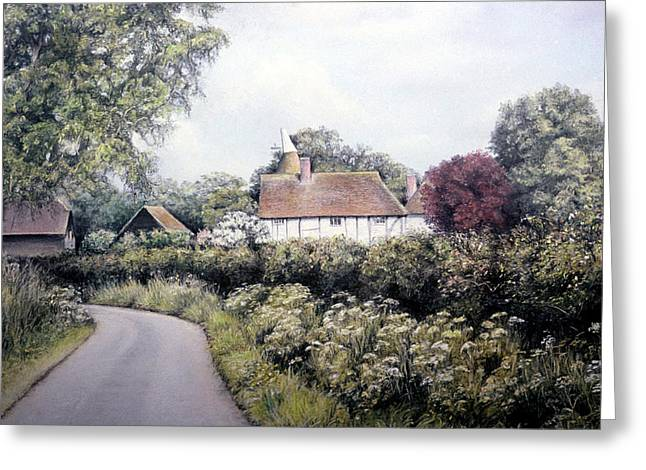 Green Foliage Pastels Greeting Cards - English Country Lane Greeting Card by Rosemary Colyer