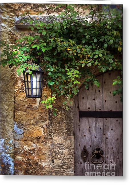 Charming Cottage Greeting Cards - English Door Greeting Card by Jill Battaglia