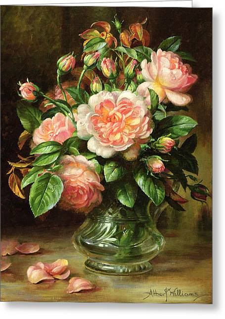Petal Greeting Cards - English Elegance Roses in a Glass Greeting Card by Albert Williams