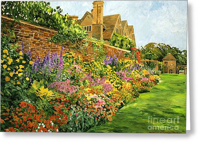 Summer Landscape Greeting Cards - English Estate Gardens Greeting Card by David Lloyd Glover