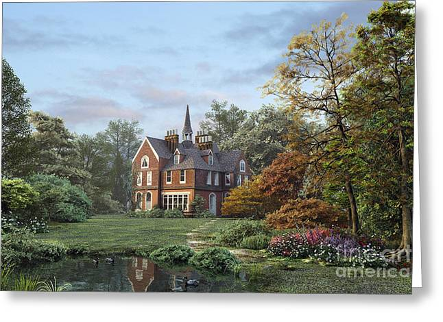 Peaceful Pond Greeting Cards - English Garden Greeting Card by Dominic Davison