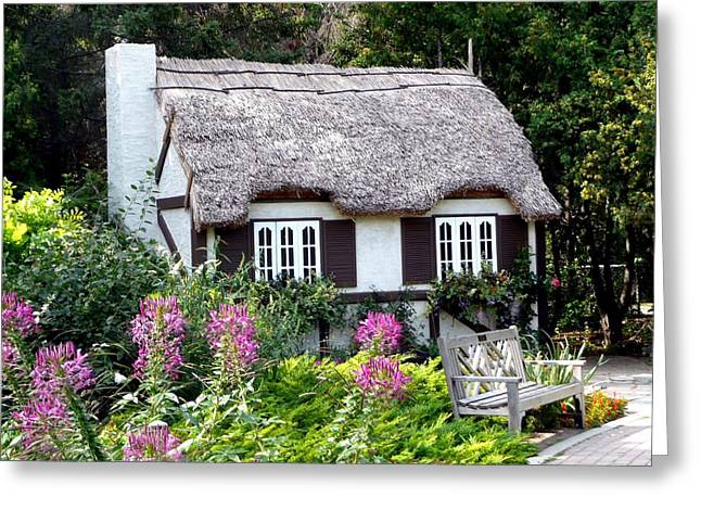 Roof Covering Greeting Cards - English Gardens Repose Greeting Card by Larry Trupp