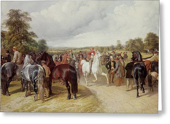 Gathering Greeting Cards - English Horse Fair on Southborough Common Greeting Card by John Frederick Herring Snr