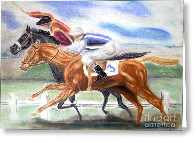 Bred Drawings Greeting Cards - English Horse Race Revised Greeting Card by Nancy Rucker