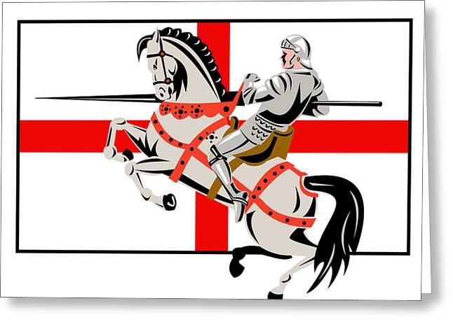 English Knight Lance Horse England Flag Side Retro Greeting Card by Aloysius Patrimonio