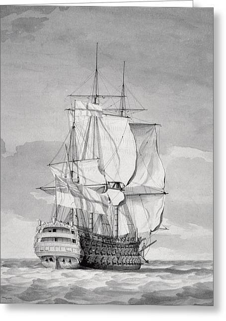 Sailing Ship Greeting Cards - English Line-of-battle Ship, 18th Century Greeting Card by Charles Brooking