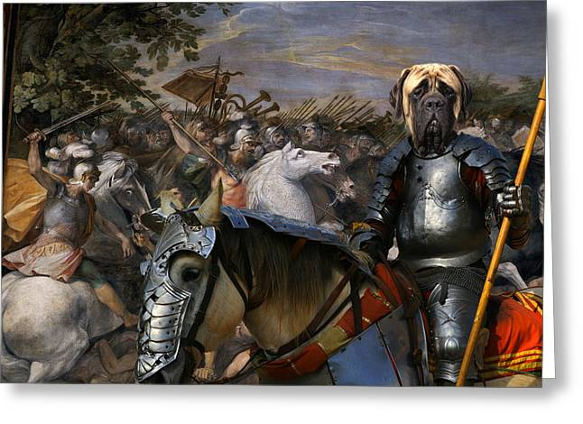 English Mastiff Greeting Cards - English Mastiff  - Mastiff Art Canvas Print - In the middle of the battle Greeting Card by Sandra Sij