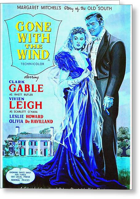 Olivia Greeting Cards - English poster of Gone with the Wind Greeting Card by Art Cinema Gallery