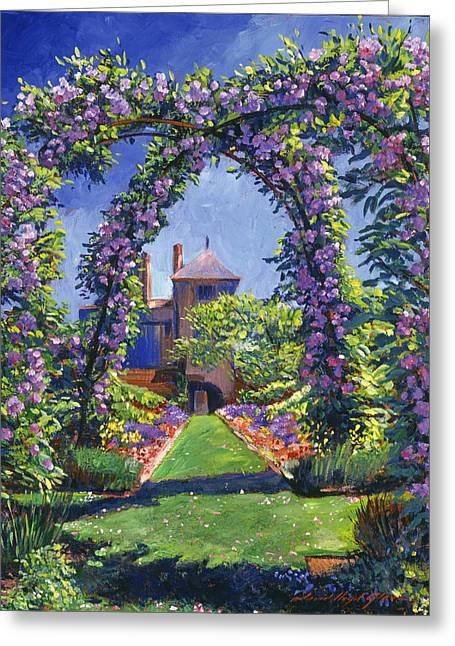 Manor Greeting Cards - English Rose Arbor Greeting Card by David Lloyd Glover