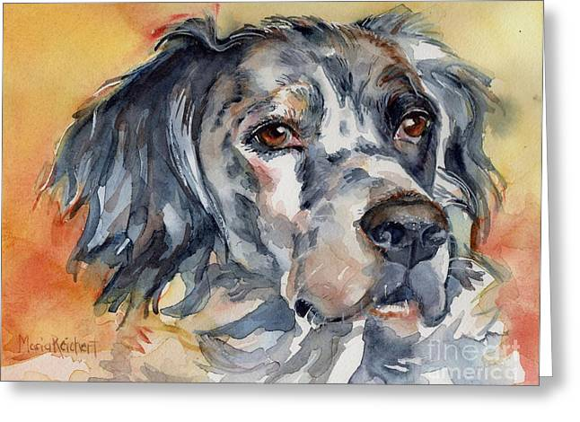 English Setter Portrait Greeting Card by Maria's Watercolor