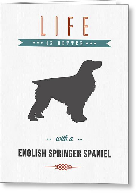 Spaniel Greeting Cards - English Springer Spaniel 01 Greeting Card by Aged Pixel