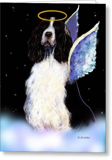 Spaniel Pastels Greeting Cards - English Springer Spaniel black angel Angel Greeting Card by Darlene Grubbs