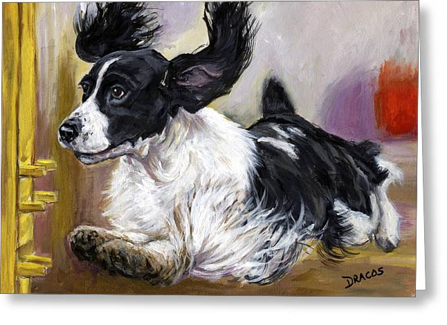 Spaniel Greeting Cards - English Springer Spaniel doing agility test Greeting Card by Dottie Dracos