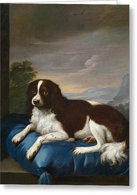 Cushion Greeting Cards - English Springer Spaniel on a cushion Greeting Card by Sawrey Gilpin