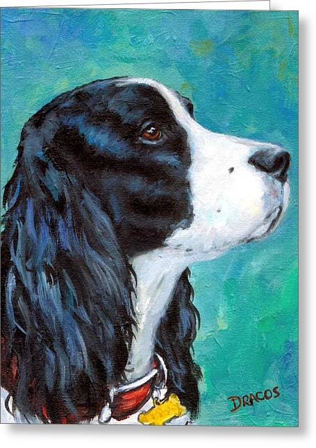 Dog Artists Greeting Cards - English Springer Spaniel profile Greeting Card by Dottie Dracos