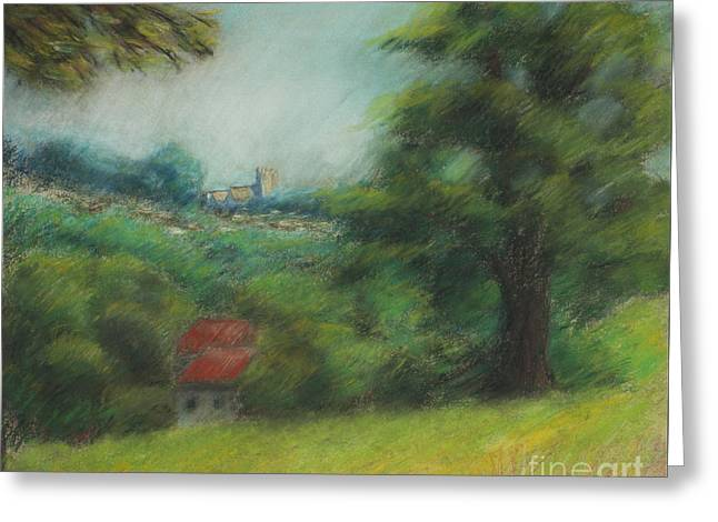 Peaceful Scenery Pastels Greeting Cards - English Summer Landscape  Greeting Card by Ewa Hearfield