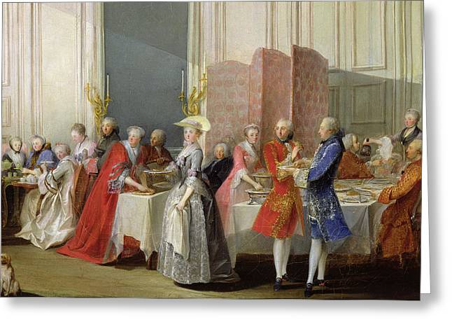 English Tea In The Salon Des Quatre Glaces At The House Of The Prince De Conti 1717-76 Palais Du Greeting Card by Michel Barthelemy Ollivier or Olivier