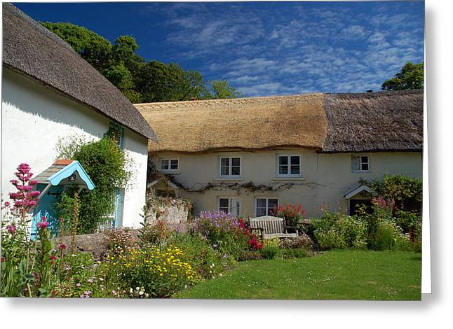 Croyde Greeting Cards - English thatched cottages Greeting Card by David ELLIOTT
