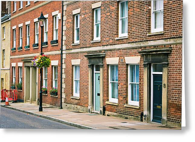 Streetlight Greeting Cards - English town houses Greeting Card by Tom Gowanlock
