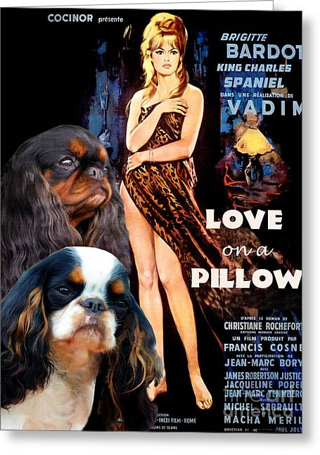 Lovers Art On Print Greeting Cards - English Toy Spaniel Art - Love on a Pillow Movie Poster Greeting Card by Sandra Sij