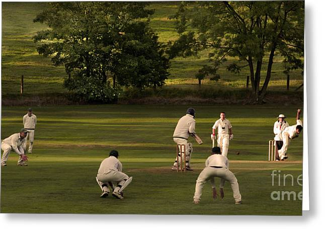 Cricketers Greeting Cards - English Village Cricket Greeting Card by Linsey Williams