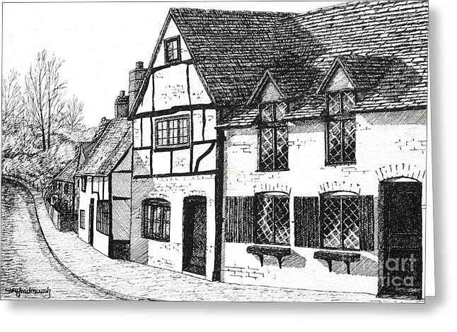 Residential Drawings Greeting Cards - English Village Greeting Card by Shirley Miller