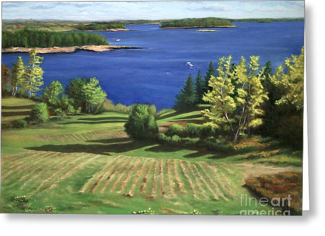Maine Farms Paintings Greeting Cards - Englishmans Bay Greeting Card by Rosemarie Morelli