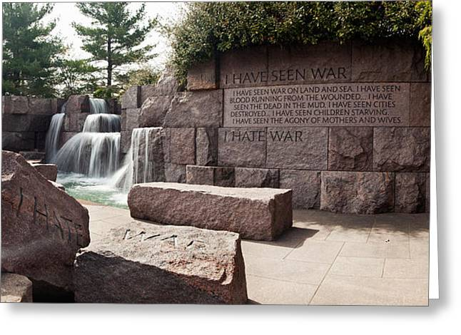 Franklin Roosevelt Photographs Greeting Cards - Engraved Memorial Wall, Franklin Delano Greeting Card by Panoramic Images