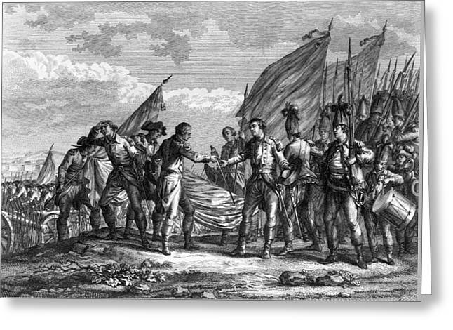 Engraving Of The Battle Of Saratoga Greeting Card by F Godfrey