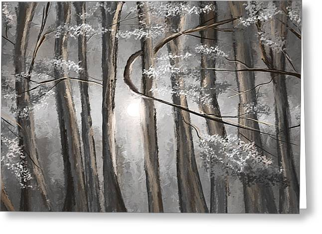 In The Shade Greeting Cards - Enigmatic Woods- Shades Of Gray Art Greeting Card by Lourry Legarde
