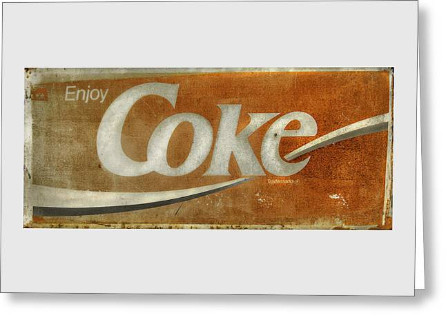 Historic Country Store Greeting Cards - Enjoy Coke - Vintage Sign No 1 Greeting Card by Thomas Schoeller