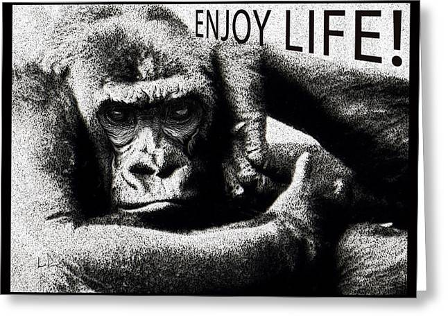 Enjoying Life Mixed Media Greeting Cards - Enjoy Life Gorilla Greeting Card by Doug LaRue