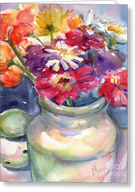 Vase Of Flowers Greeting Cards - Enjoy Simply Greeting Card by Maria