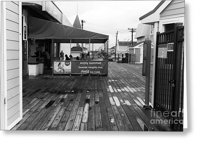 Seaside Heights Greeting Cards - Enjoy Summer mono Greeting Card by John Rizzuto
