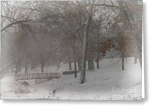 Snowstorm Prints Greeting Cards - Take A Walk On The Bridge Through The Snow Covered Landscape Greeting Card by Adri Turner
