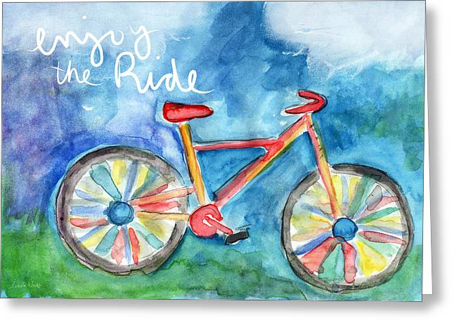 Enjoy The Ride- Colorful Bike Painting Greeting Card by Linda Woods