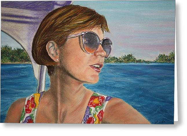 Sunglasses Pastels Greeting Cards - Enjoy the sun Greeting Card by Linda Eversole