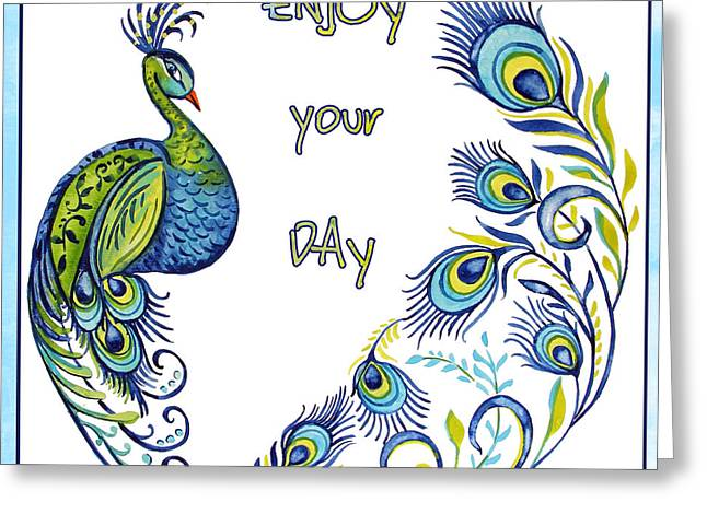 Nature Study Greeting Cards - Enjoy Your Day Peacock-B Greeting Card by Jean Plout
