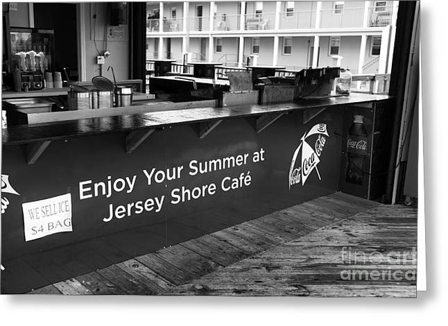 Seaside Heights Greeting Cards - Enjoy Your Summer at the Jersey Shore mono Greeting Card by John Rizzuto