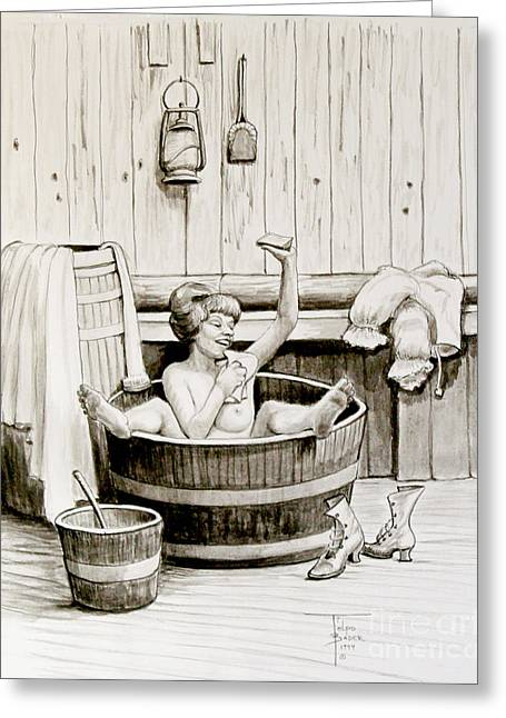 Old Barn Pen And Ink Greeting Cards - Bawdy Lady Bath - 1890s Greeting Card by Art By - Ti   Tolpo Bader
