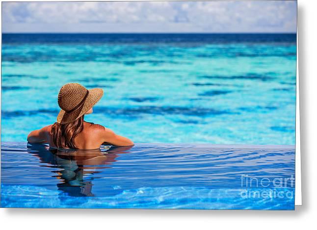 Lazing Greeting Cards - Enjoying beach resort Greeting Card by Anna Omelchenko